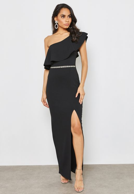 Asymmetric Diamonte Waistband Maxi Dress