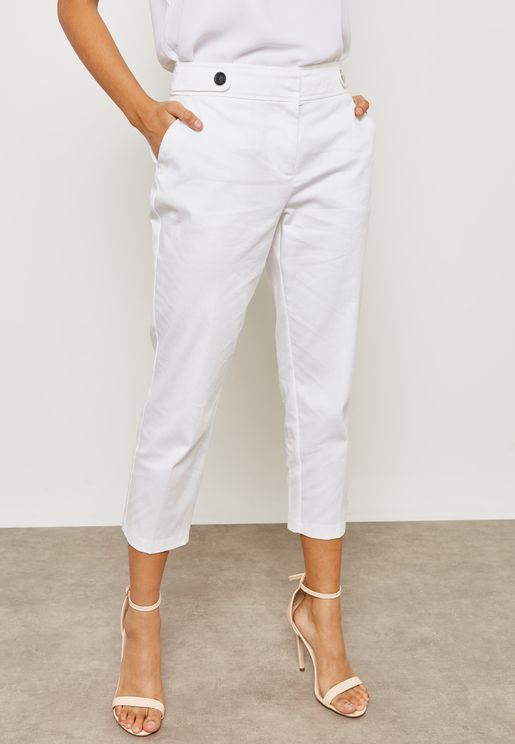 Button Detail Ankle Grazer Pants