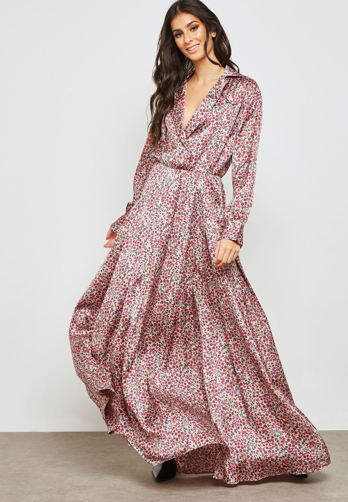 67faaf0b842 Shop Mango prints Side Slit Floral Satin Dress 31085756 for Women in ...