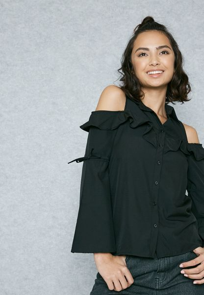 Ruffle Detail Cold Shoulder Shirt