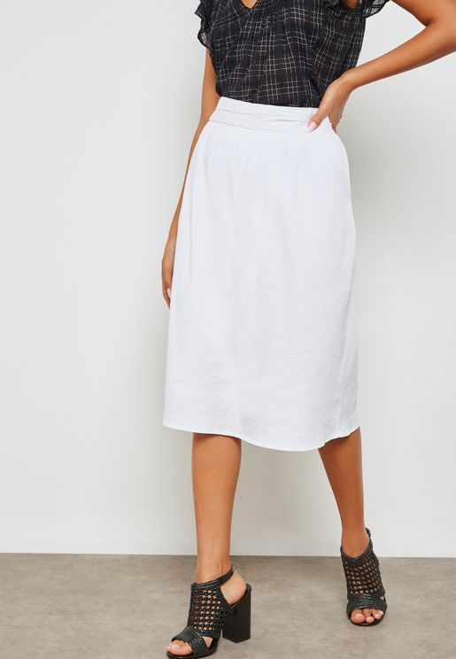 Belt Pleated Skirt