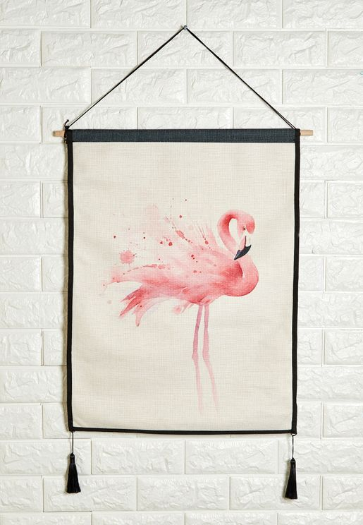 Flamingo Wall Hanging With Tassels 45x65cm