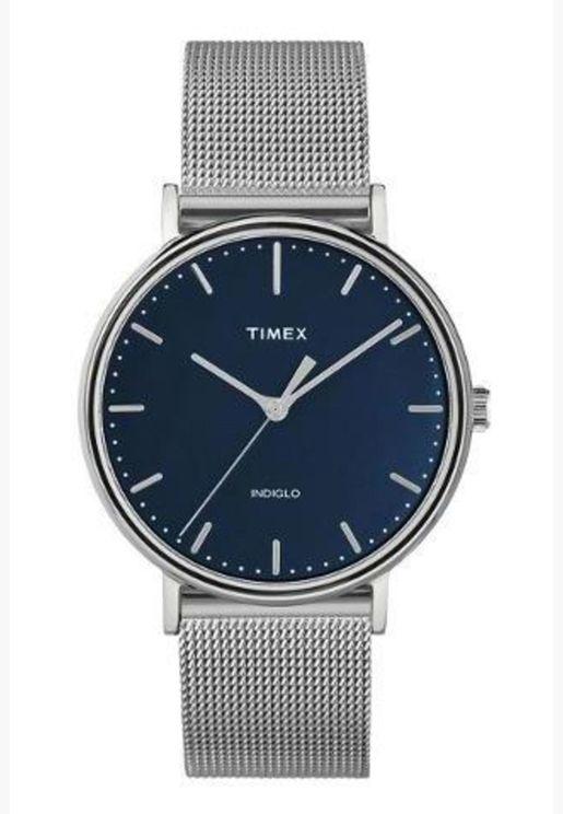 ساعة تيميكس فيرفيلد للنساء بسوار شبكي - TW2T37000