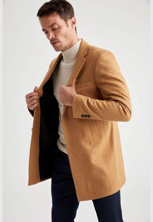 Man Slim Fit Blazer Collar Coat Parka