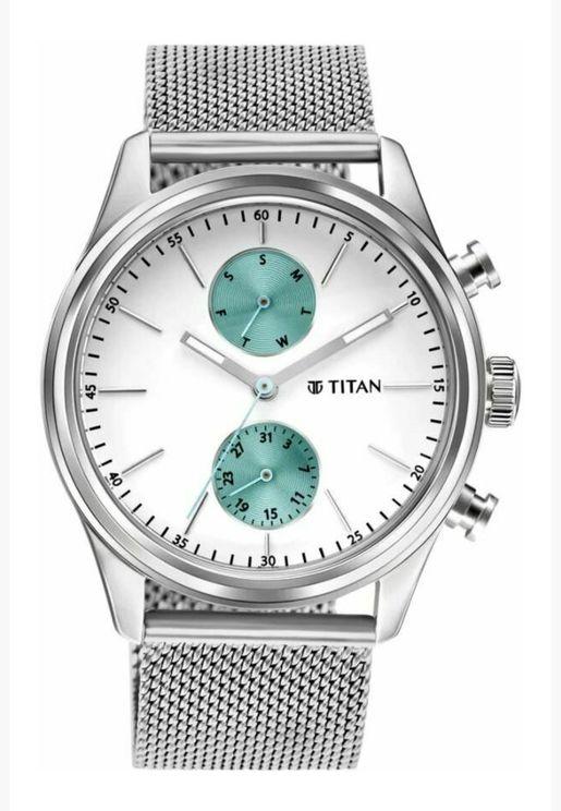 ساعة تيتان للرجال المنت بيضاء من الستانلس ستيل الفضي - T1805SM04