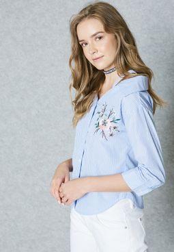 Embroidered Cold Shoulder Shirt