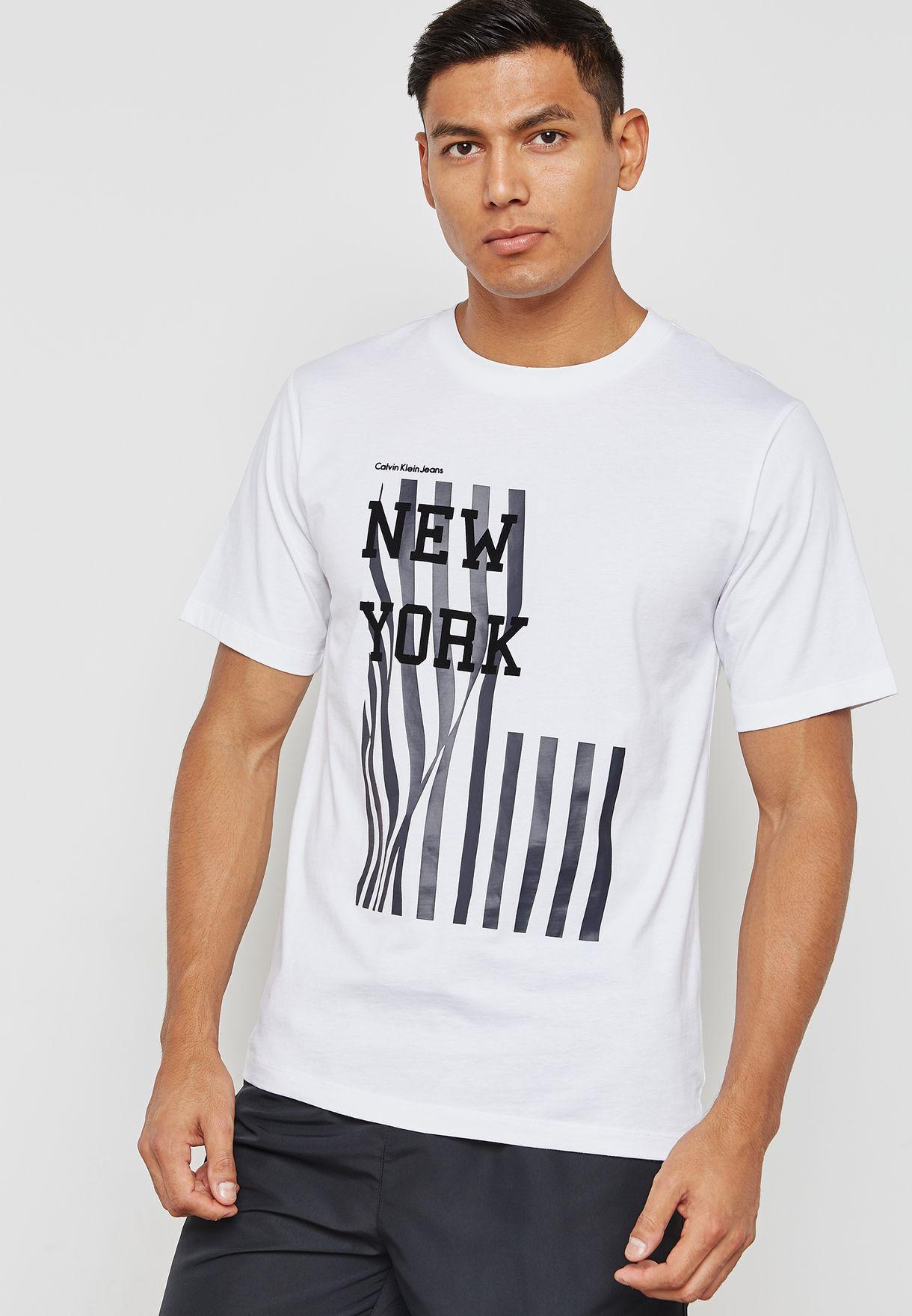 ae51108f Shop Calvin Klein Jeans white New York Flag Design T-Shirt ...