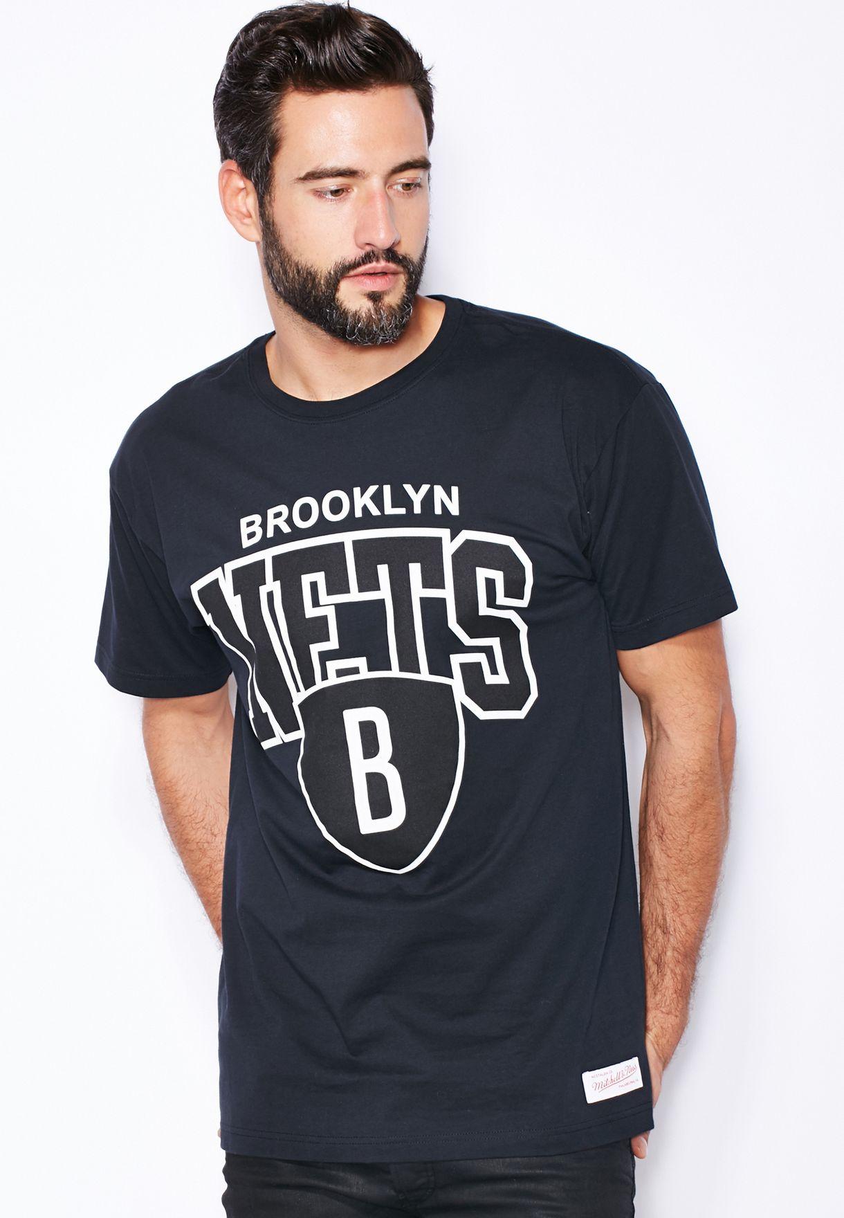 dbc5a394b Shop Mitchell Ness black Brooklyn Nets T-Shirt for Men in Qatar ...