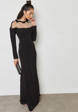 Embellished Sheer Yoke Detail Dress