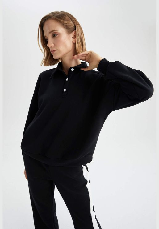 Woman Knitted Regular Fit Polo Neck Long Sleeve Sweat Shirt