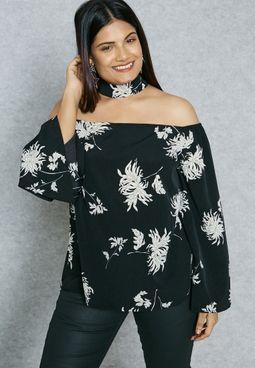Choker Neck Floral Print Top