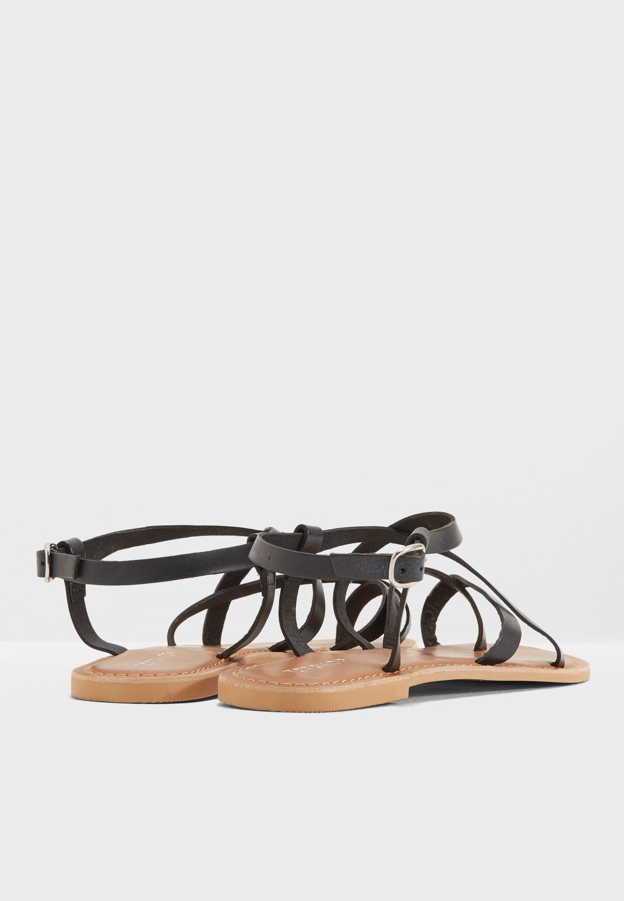 ad77a3a1b36c6b Shop Topshop black Hiccup Strappy Sandals 42H11NBLK for Women in UAE ...