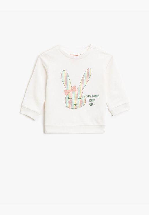 Silvery Printed Cotton Crew Neck Long Sleeve Sweatshirt