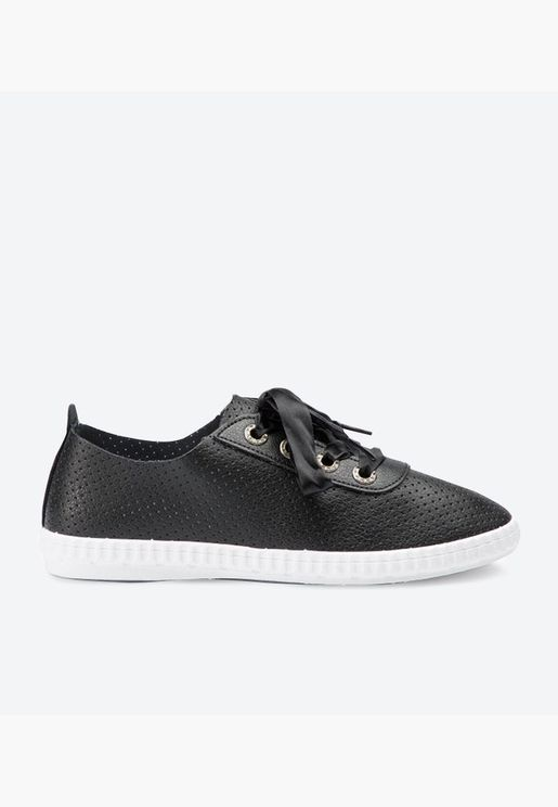 Ribbon Lace-Up Casual Sneakers - Black