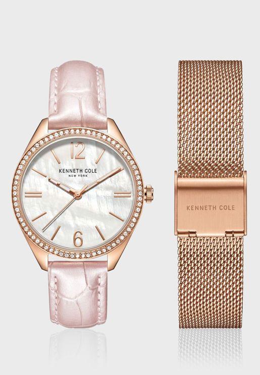 كينيث كول طقم ساعة يد جلد للنساء - KC50989002
