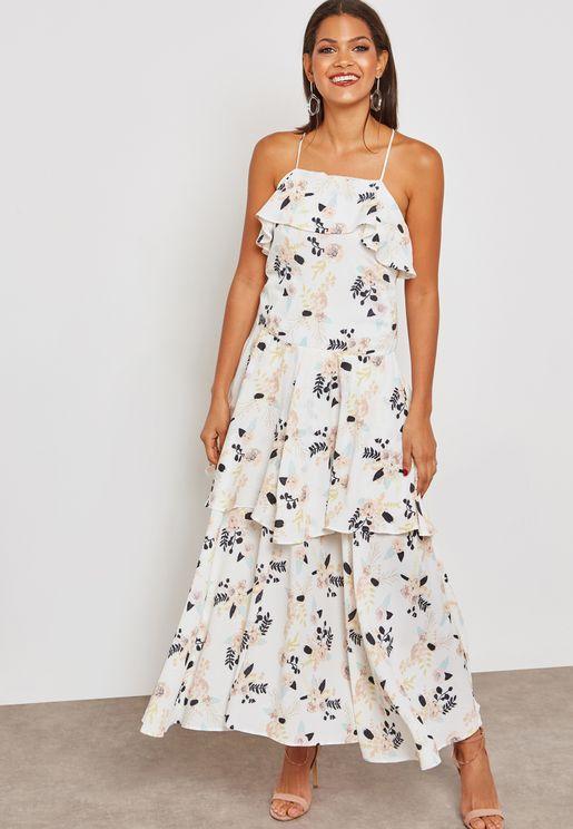 فستان مكسي بطبعات ازهار وكشكش