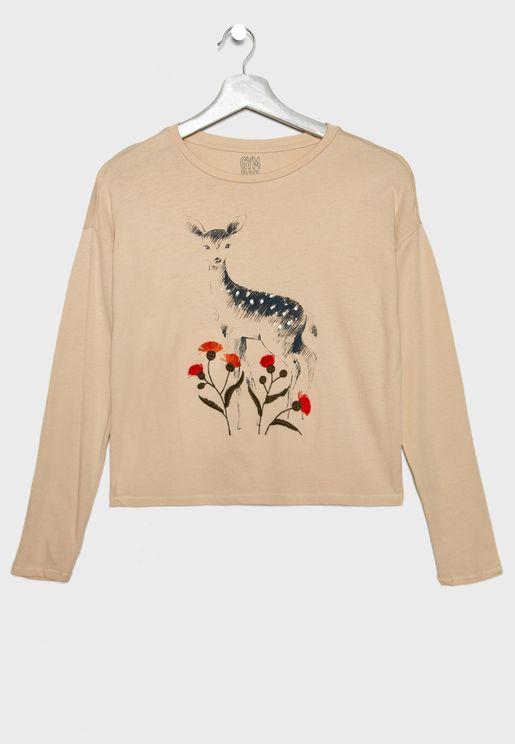 Kids Deer Graphic T-Shirt