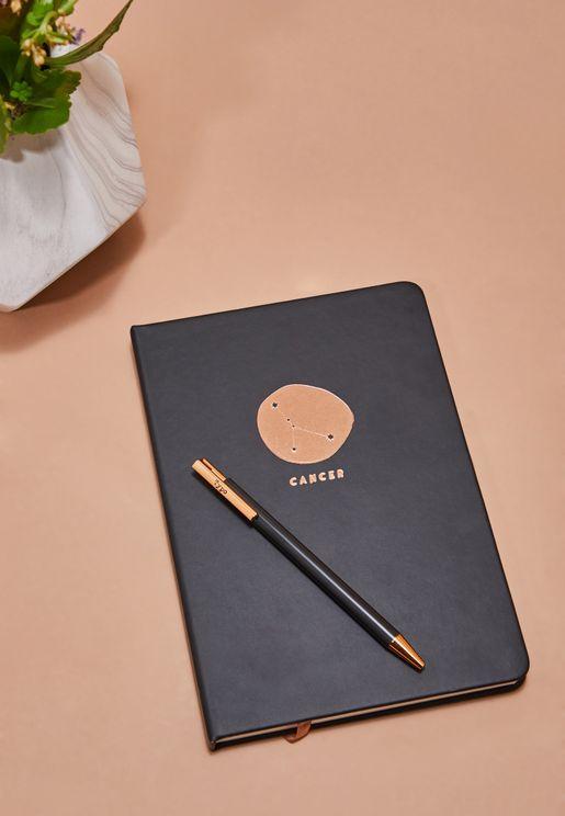 مجموعة دفتر ملاحظات برج السرطان مع قلم
