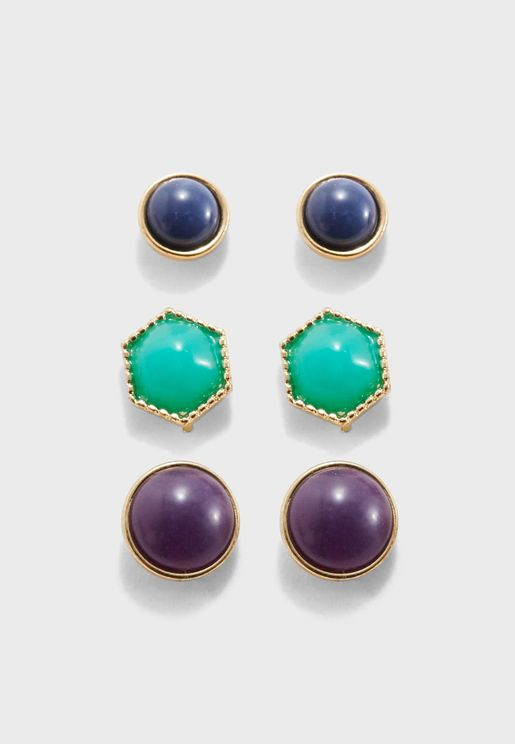 Geo Stud Earring Set