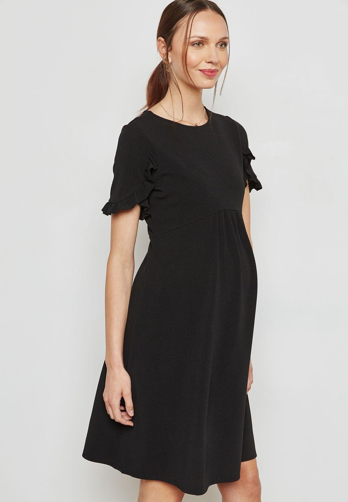 d94c1fdc48 Shop Dorothy Perkins Maternity black Ruffle Sleeve Skater Dress 17368010  for Women in Bahrain - DO104AT38EBL