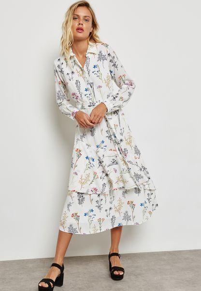 Floral Print Ruffle Hem Self Tie Dress