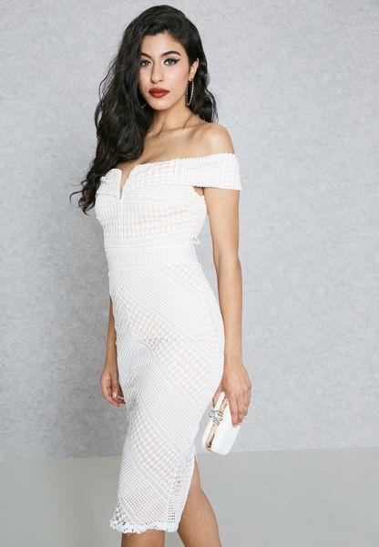 793758bcf0c7 30%OFF Shop Missguided white Lace Bardot Dress DE911117 for Women in UAE