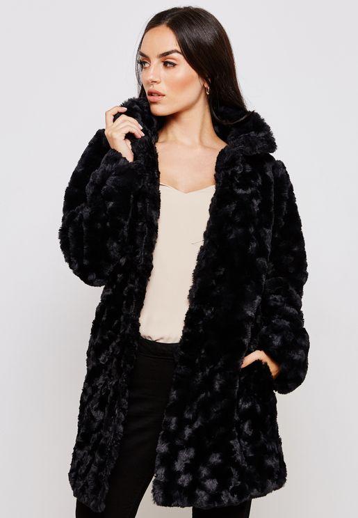 Longline Faux Fur Jacket