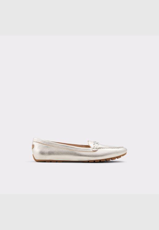 ALDO MARETTINI Women Genuine Leather Shoes Flat Heel Euro 42.5Silver