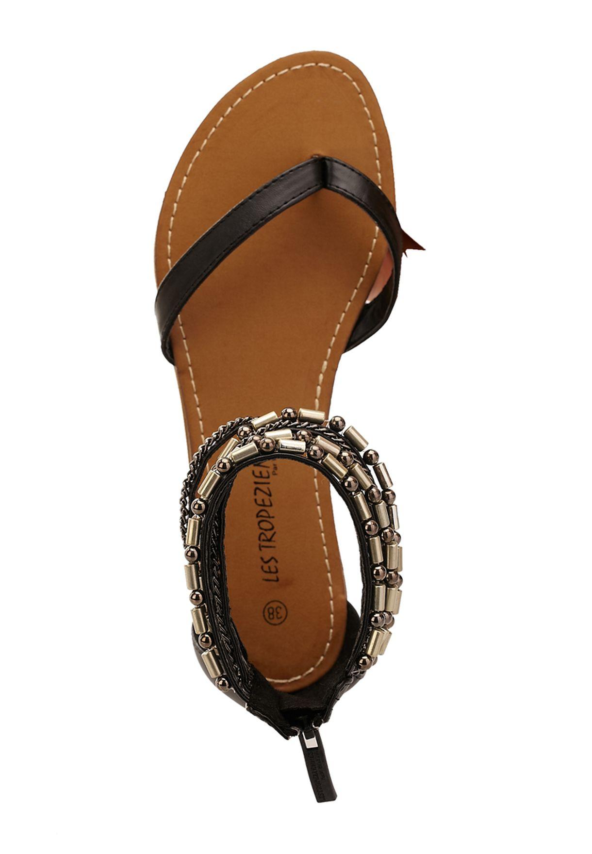 61e64c4d7 Shop Les Tropeziennes black Genial Flat Sandals for Women in ...