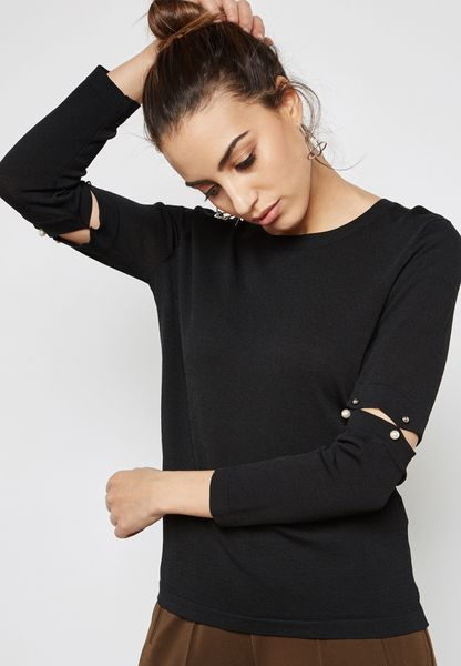 Pearl Cut Out Sleeve Knitted Top