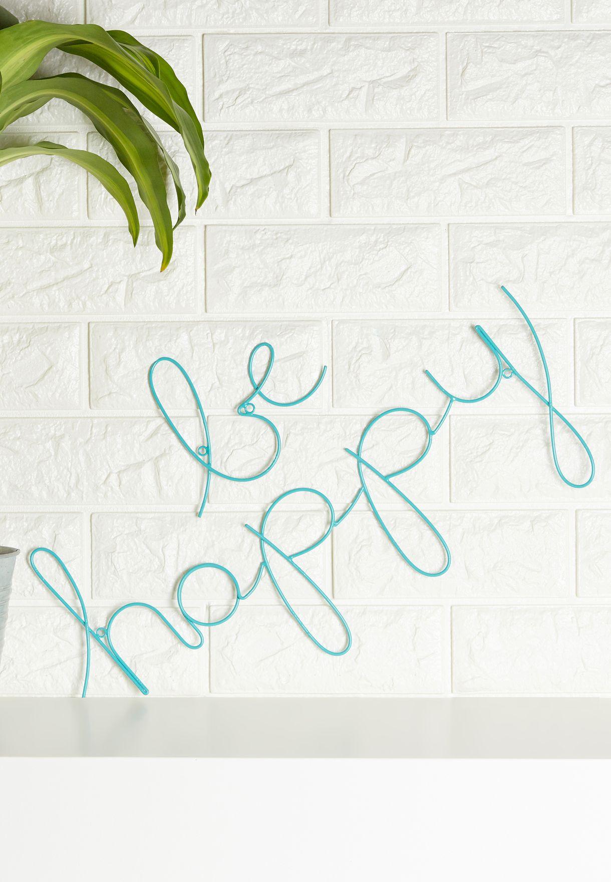 """سلك إضاءة يحمل عبارة """"Be Happy"""""""