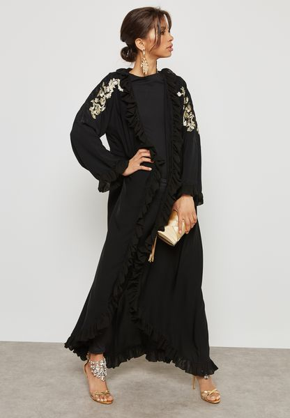Ruffle Detail Embroidered Abaya
