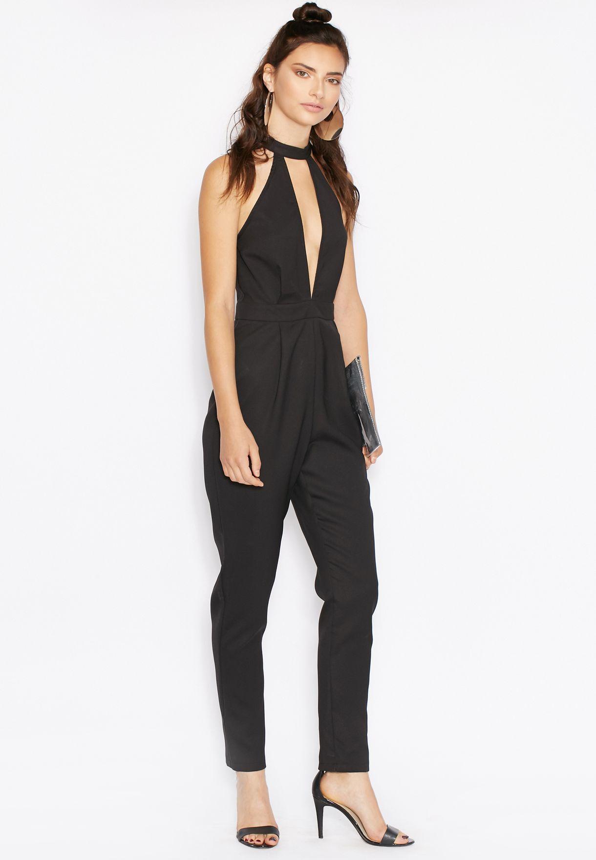 73de7686681 Shop Missguided black Choker Plunge Jumpsuit for Women in Qatar -  MI669AT38VTL