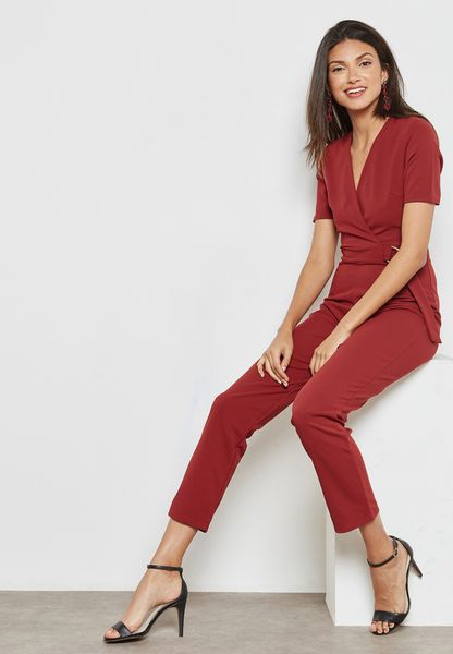 D-Ring Belted Wrap Jumpsuit