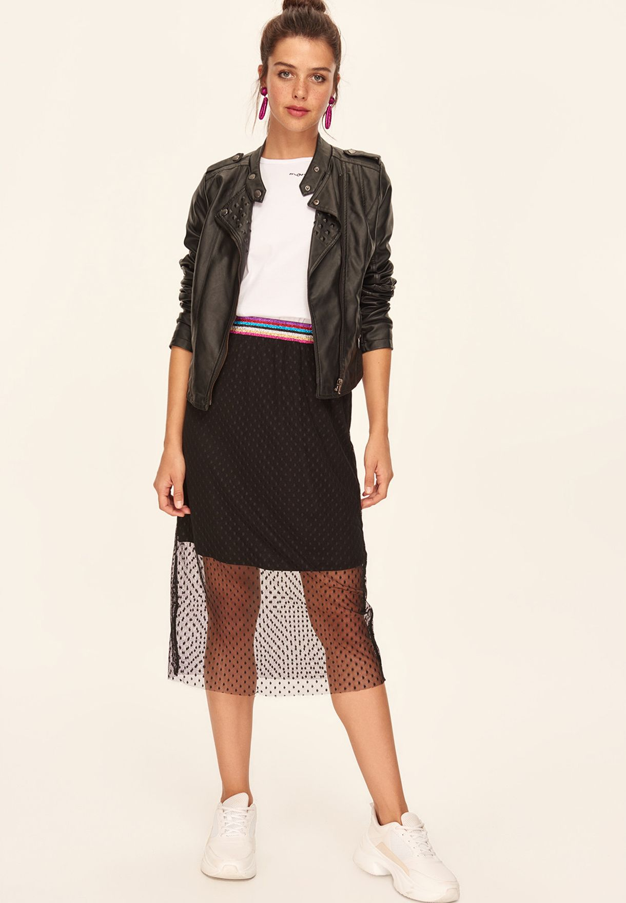 Mesh Striped Waist Skirt