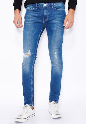Topman Stretched Skinny Fit Mid Wash Ripped Jeans