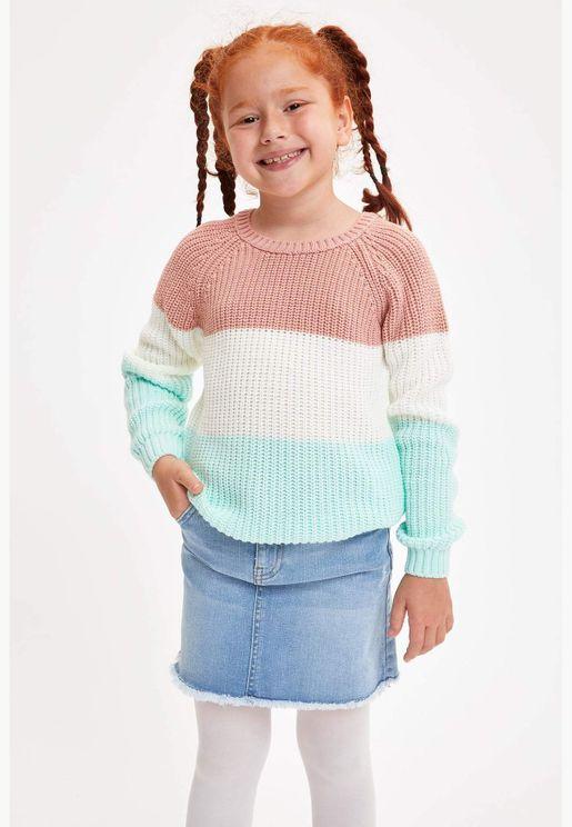 Girl Regular Fit Crew Neck Pullover
