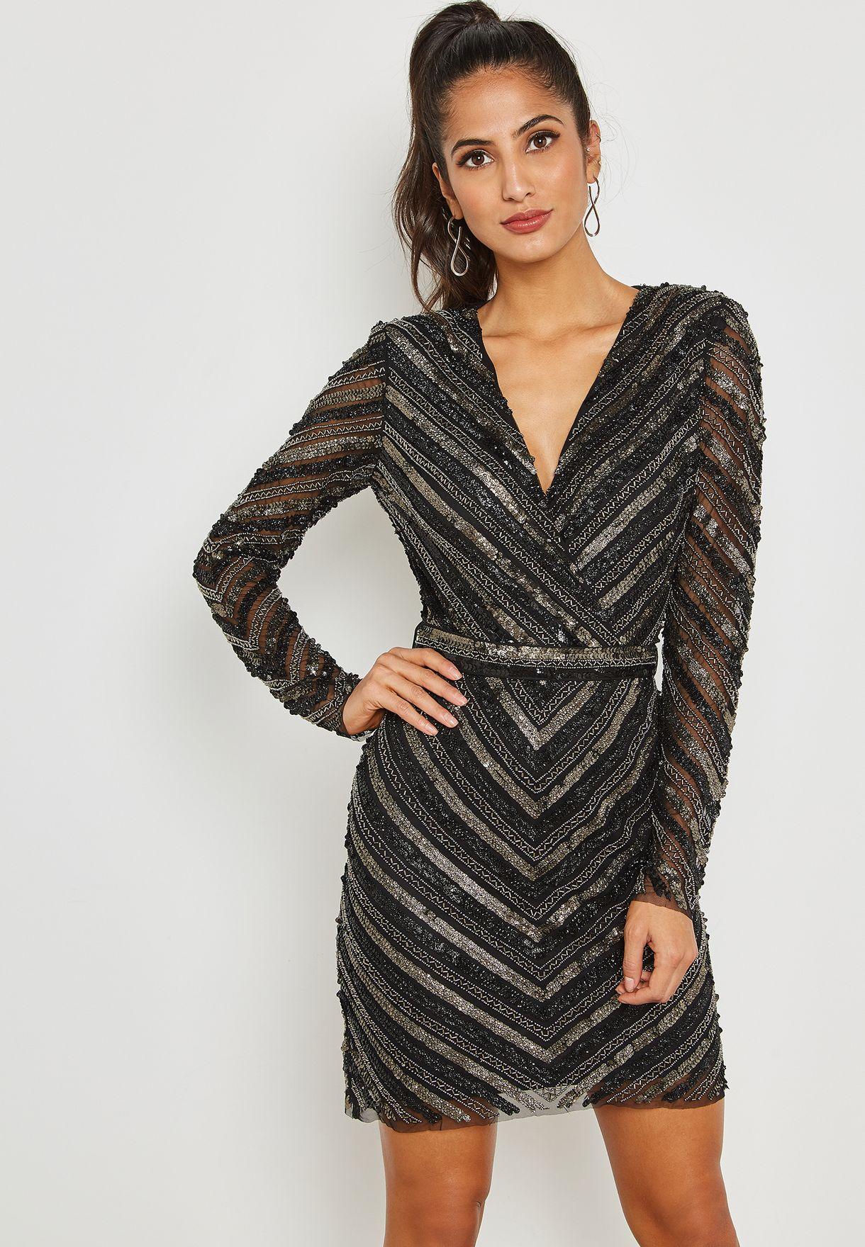 2feb19bd9e2 Shop Mango black Chevron Shimmer Dress 33059047 for Women in UAE ...
