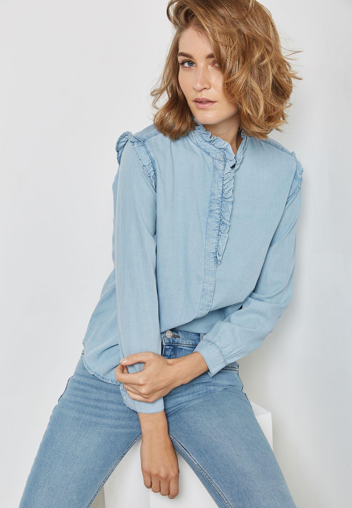 8e7b7e6792a173 Shop Mango blue Frill Sleeve Denim Shirt 13065663 for Women in UAE ...