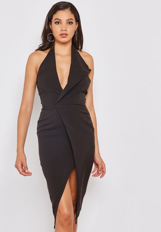 Oversized Collar Halter Neck Dress with Slit