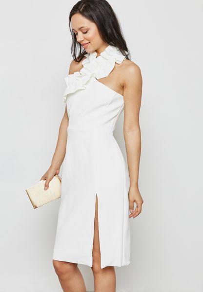 Halter Neck Front Slit Dress