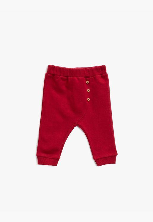 Cotton Button Detailed Medium Rise Jogging Pants