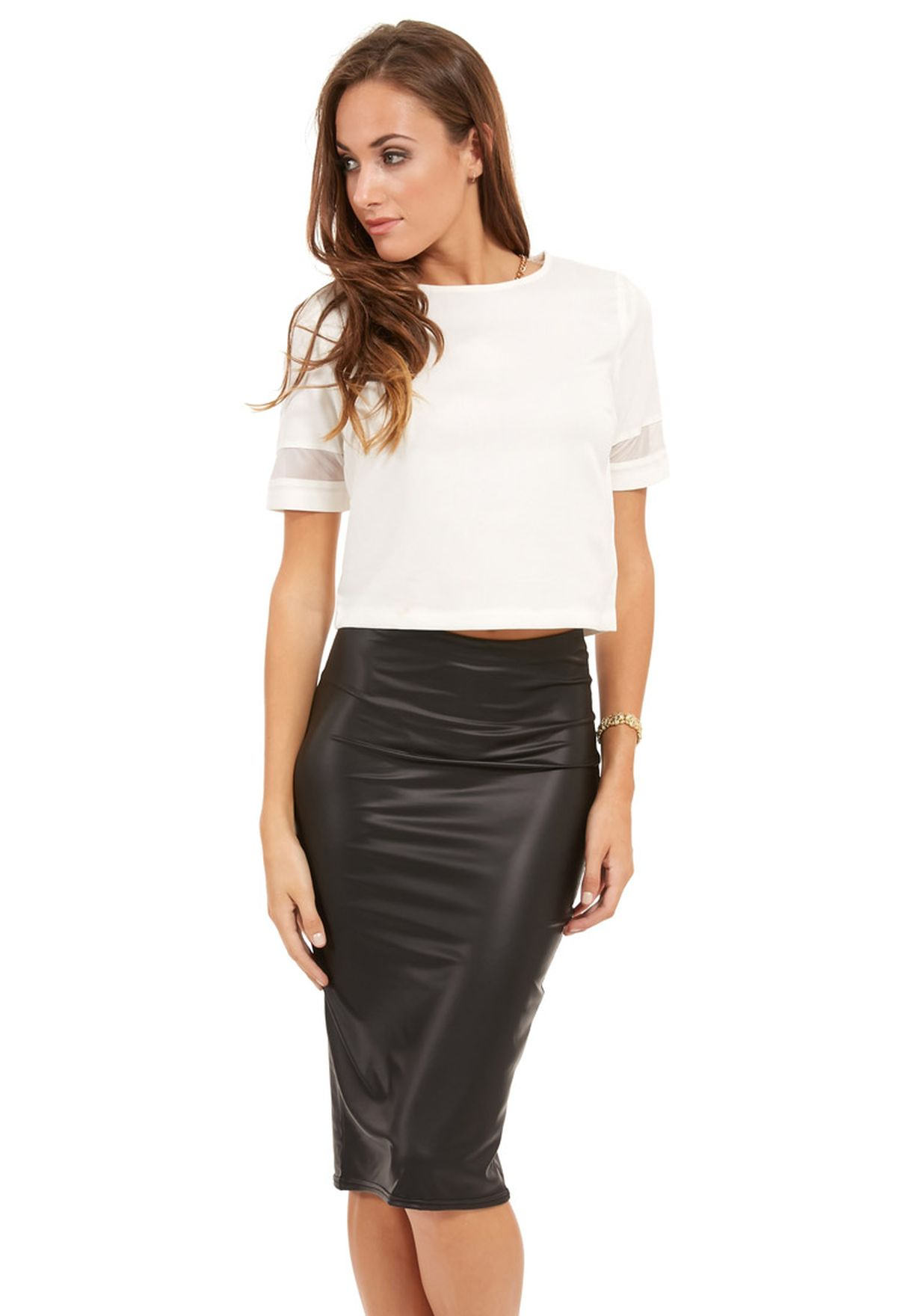 51b9e3bb7d2 Shop Ax paris white Mesh Insert Sleeve Top for Women in Saudi ...