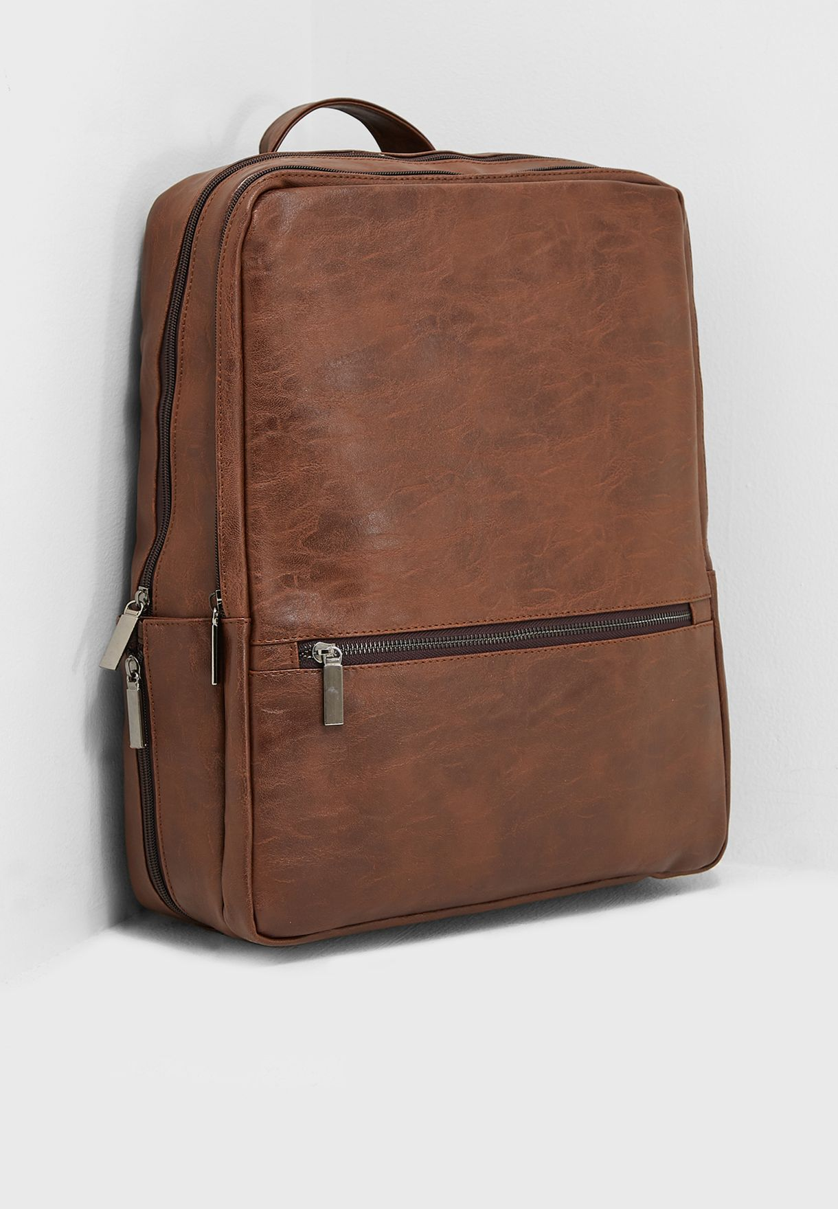 57913ac94a70 Shop Seventy five browns Faux Leather Laptop Sleeve Backpack ...