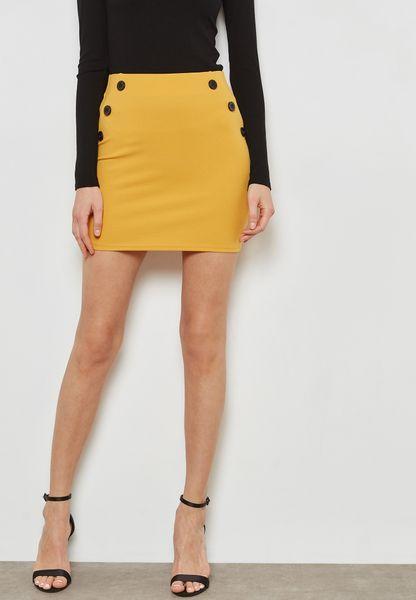 Buttoned Waist Skirt