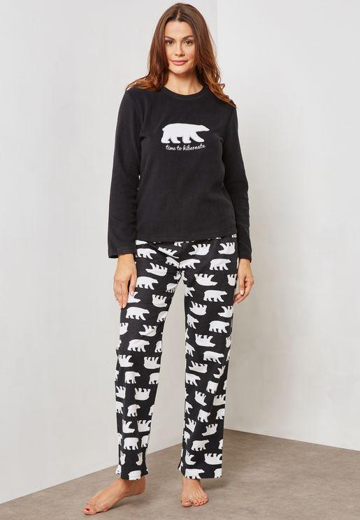 Polar Bear Print Pyjama Set