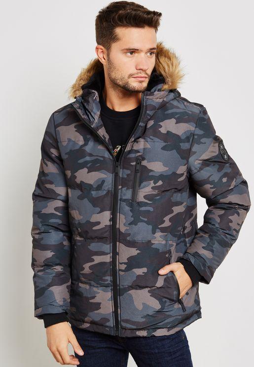 Camo Padded Hooded Jacket Zip Through