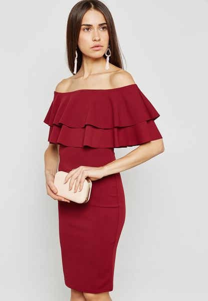 Ruffle Detail Bardot Bodycon Dress