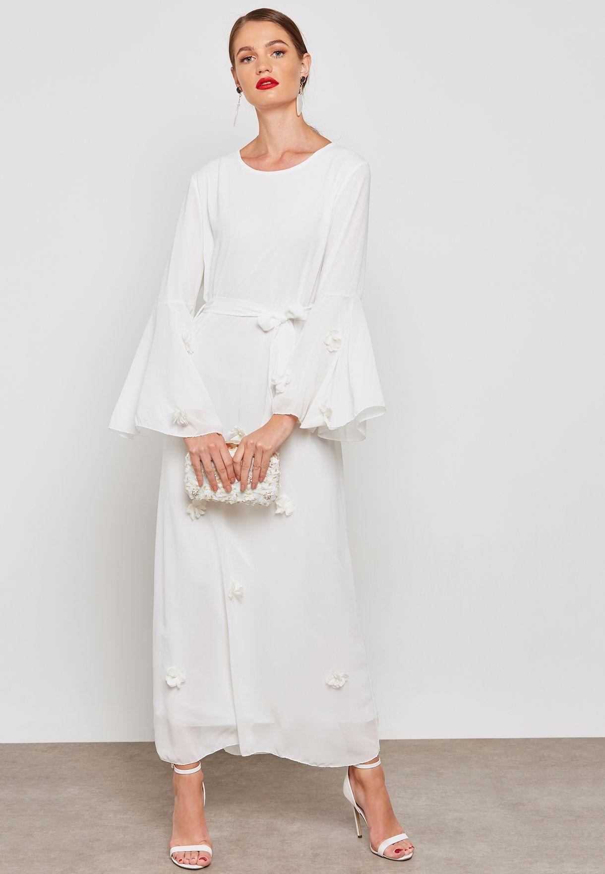 فستان مكسي بأربطة