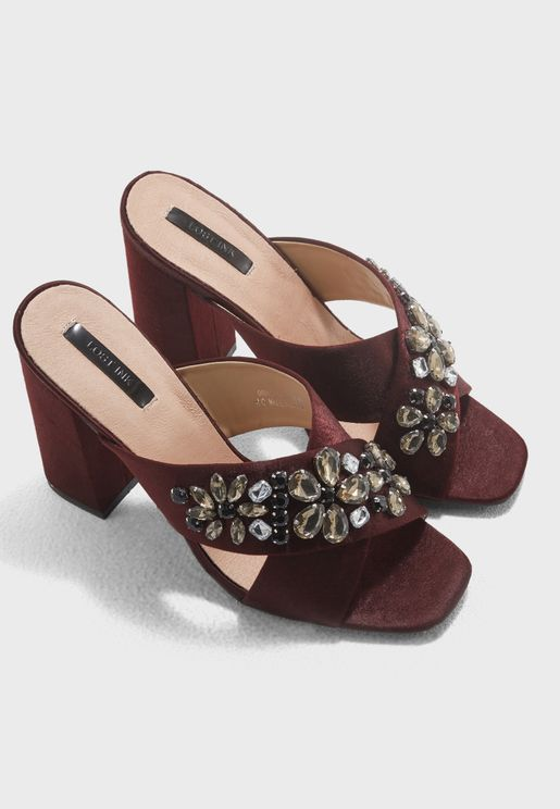 Embellished Cross Strap Sandal